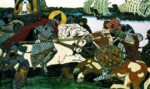 Alexander NevskyがJarl Birgerを攻撃   Nikolai Roerich