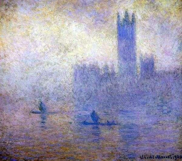 ロンドンの国会議事堂。霧の効果   クロードモネ
