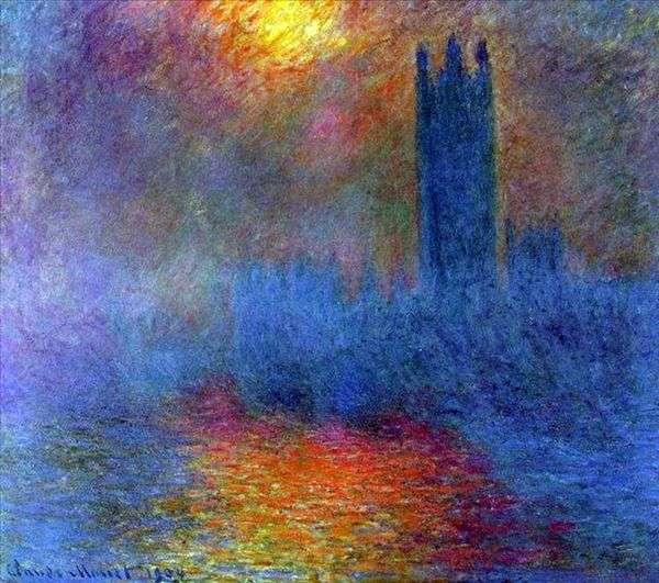国会議事堂、霧の中から輝く太陽   クロード・モネ