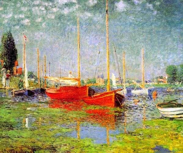 アルジャントゥイユの赤いボート   クロードモネ