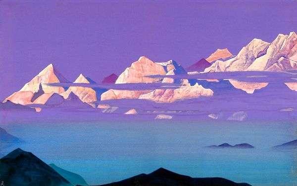 ヒマラヤ ピンクの山々   ニコラス・レーリッヒ