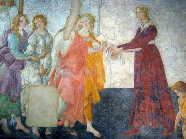 別荘Macherelliのフレスコ画。サンドロ・ボッティチェリ   若い女性が金星と三美神からの贈り物を受け取る