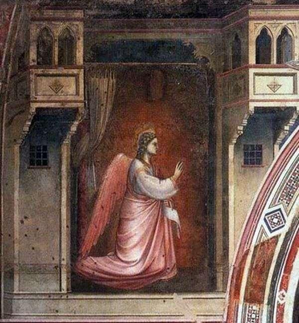 フレスコ画「受胎告知」を持つ大天使ガブリエルの図   ジョット