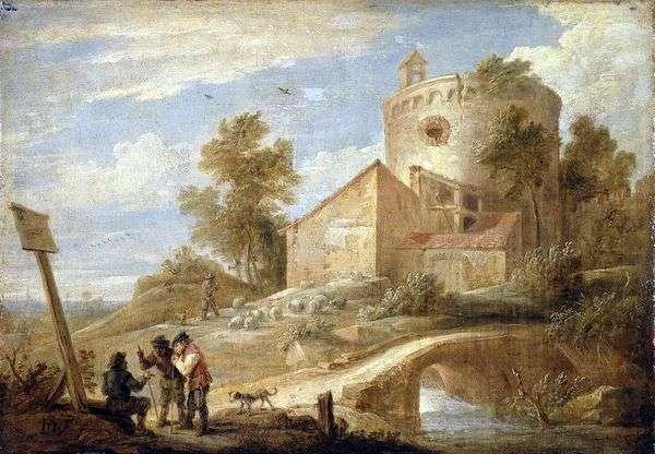 塔のある風景   David Teniers