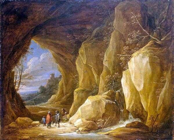 洞窟とジプシーのグループのいる風景   David Teniers