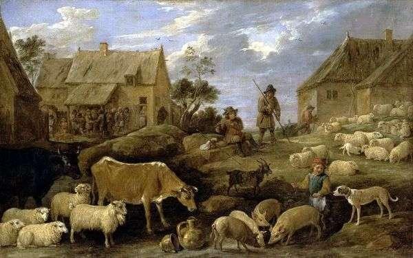 羊飼いと群れのいる風景   David Teniers