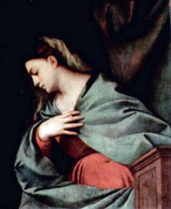 キリストの復活(Averoldi Altar Polyptych)、右翼、上のシーン。聖母マリア   Titian Vecellio