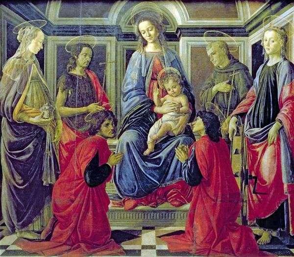 子供と聖人の聖母マリアマグダレン、洗礼者ヨハネ、コズマ、ダミアン、アッシジのフランシスコ、アレクサンドリアのキャサリン   Sandro Botticelli