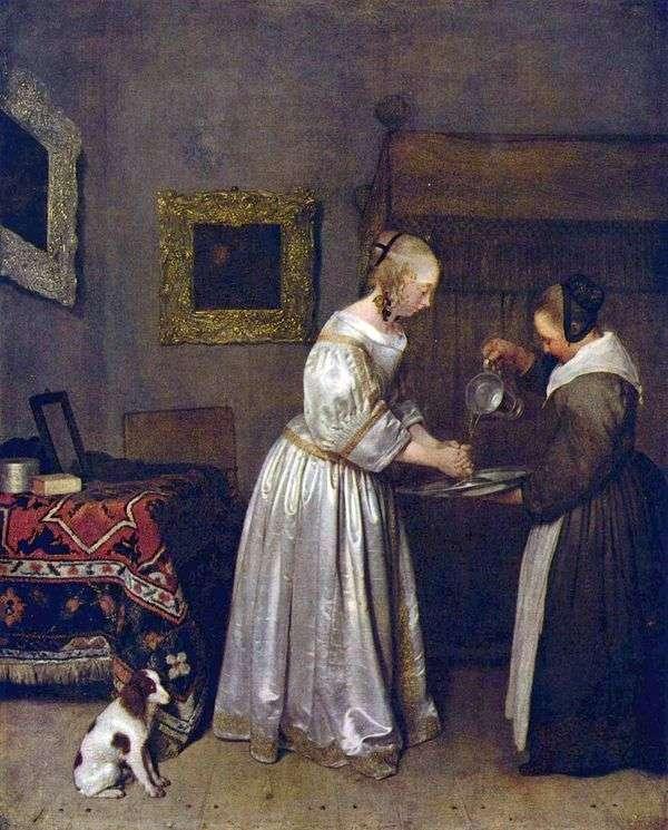 女性手を洗う   ジェラルド・ターボリヒ