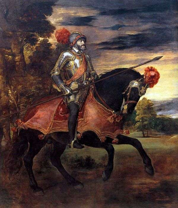 チャールズV皇帝の乗馬の肖像   Titian Vechelio