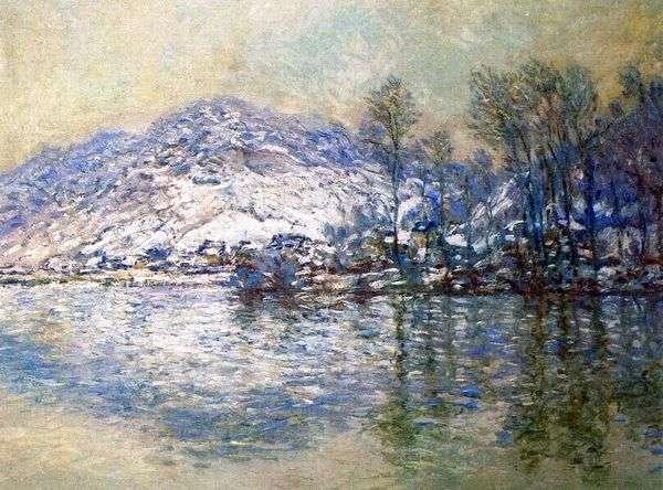 セーヌ川、雪に覆われたPort Ville   Claude Monet