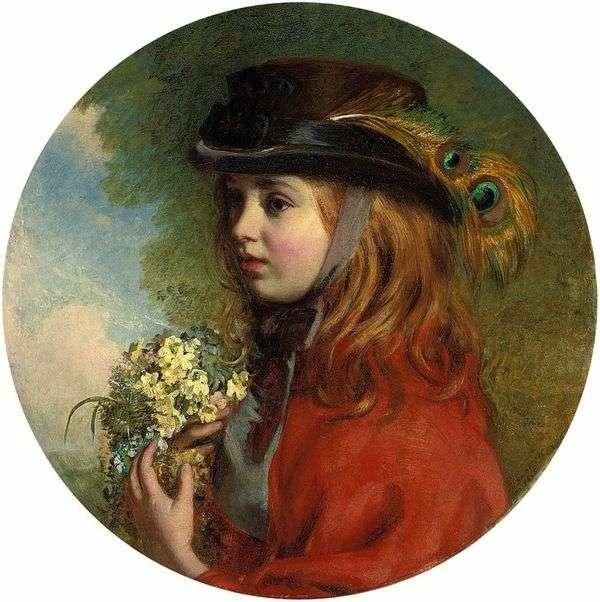 春(花束を持つ少女の肖像画)   Henry Hetherington Emmerson