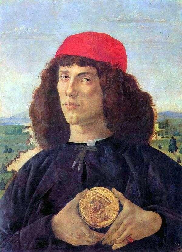 メダル   Sandro Botticelliを持つ男の肖像
