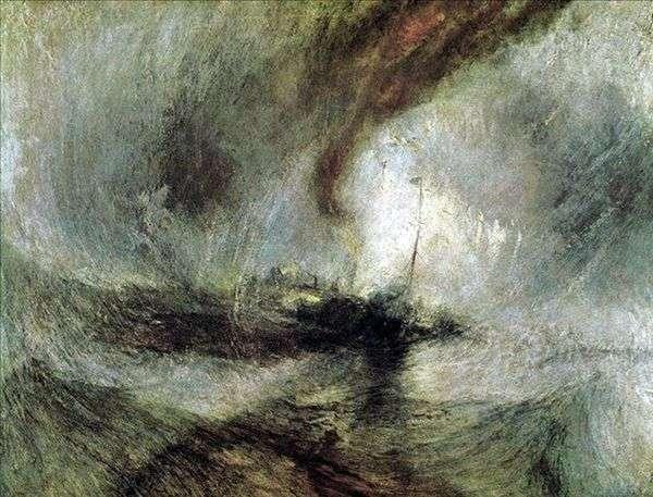 ブリザード、汽船が港を出て浅瀬に合図を出し、たくさんの深さを測る   William Turner