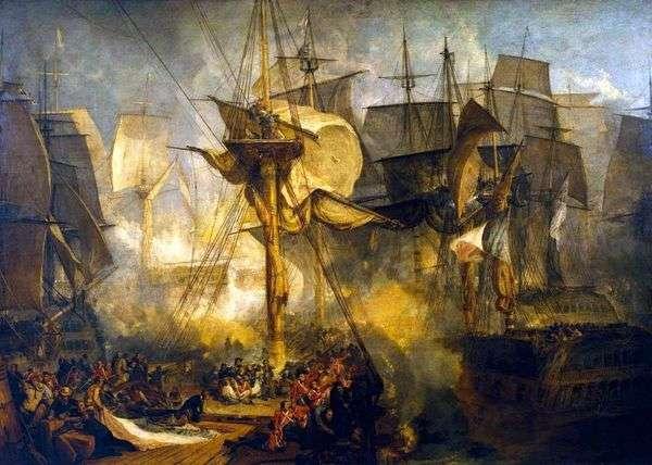 トラファルガーの戦い、ビクトリア船   ウィリアム・ターナーの右側にミズンマストの石畳からの眺め