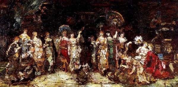 若い女性のグループの前で闘鶏   Adolphe Monticelli