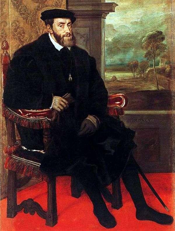 チャールズVの椅子の肖像   Titian Vechelio