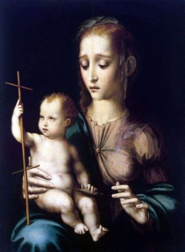 子供と十字架の形をした回転ホイールを持つマドンナ   Luis de Morales