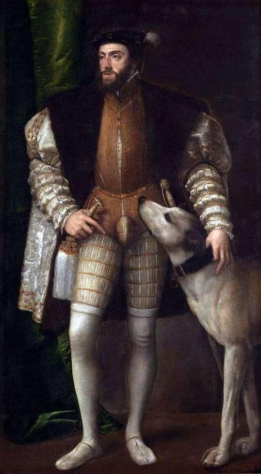 チャールズ5世の犬との肖像   Titian Vechelio