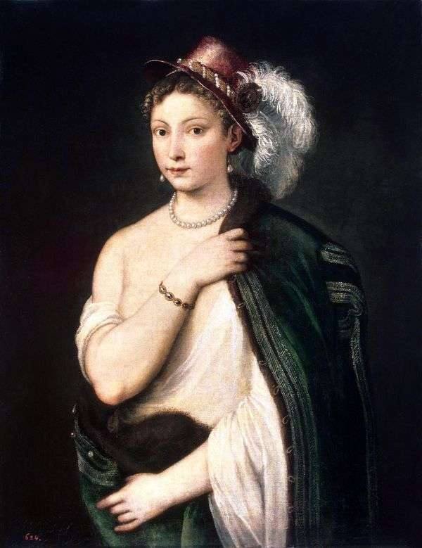 羽を持つ帽子の若い女性の肖像画   Titian Vechelio