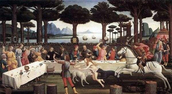 オニスティ(Nastajo degli Onestiの歴史)でのNastagioのディナー   Sandro Botticelli