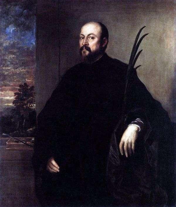 ヤシの枝を持つ男の肖像   Titian Vechelio