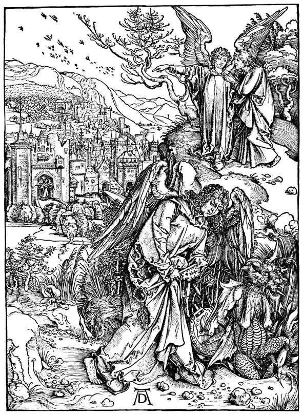 地獄への鍵を持つ天使。彫刻   アルブレヒトデューラー