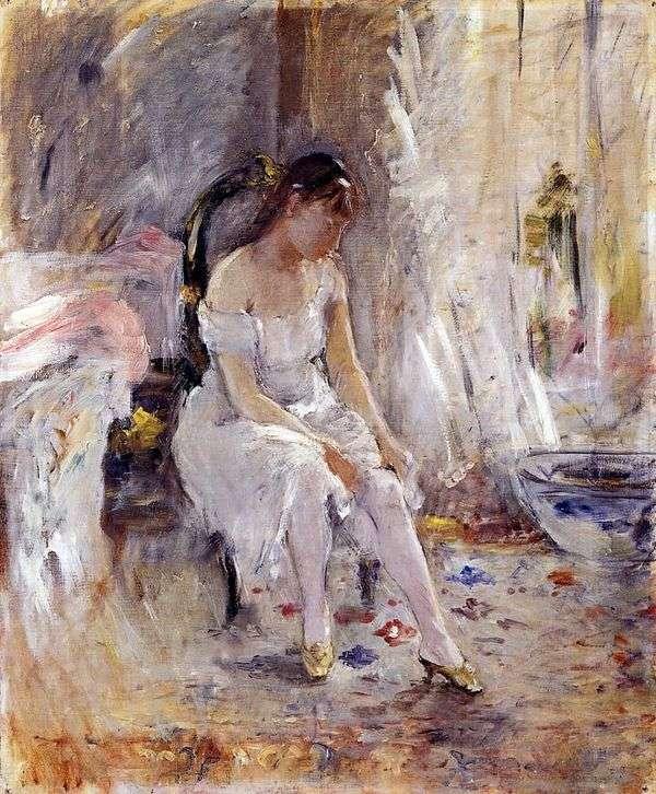 ストッキングを履いた少女   Bertha Morisot