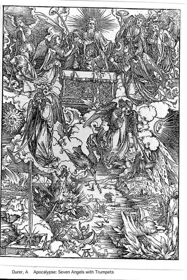 天使と7つのトランペット。彫刻   アルブレヒトデューラー