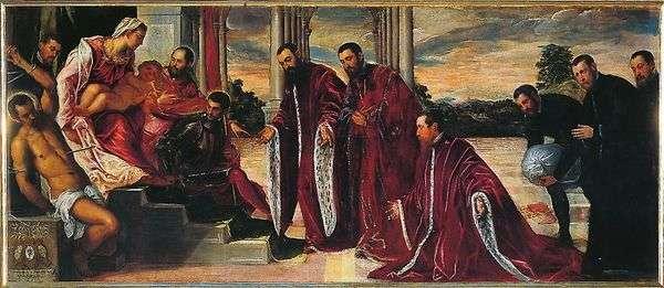 マドンナと3人の会計係   Jacopo Tintoretto