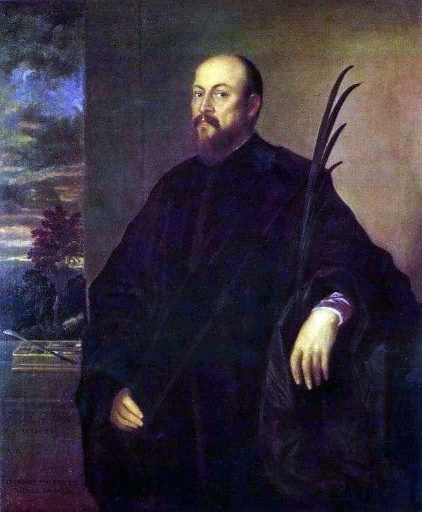 ヤシの葉を持つ芸術家の肖像画   Titian Vechelio