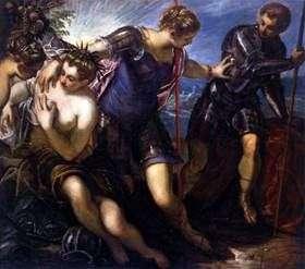 Minervaは平和とたくさんから火星を取り除きます   Jacopo Tintoretto