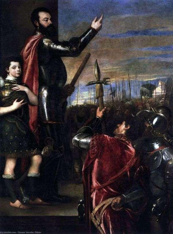 Marquis del Vastoの戦士たちへのスピーチ   Titian Vecellio
