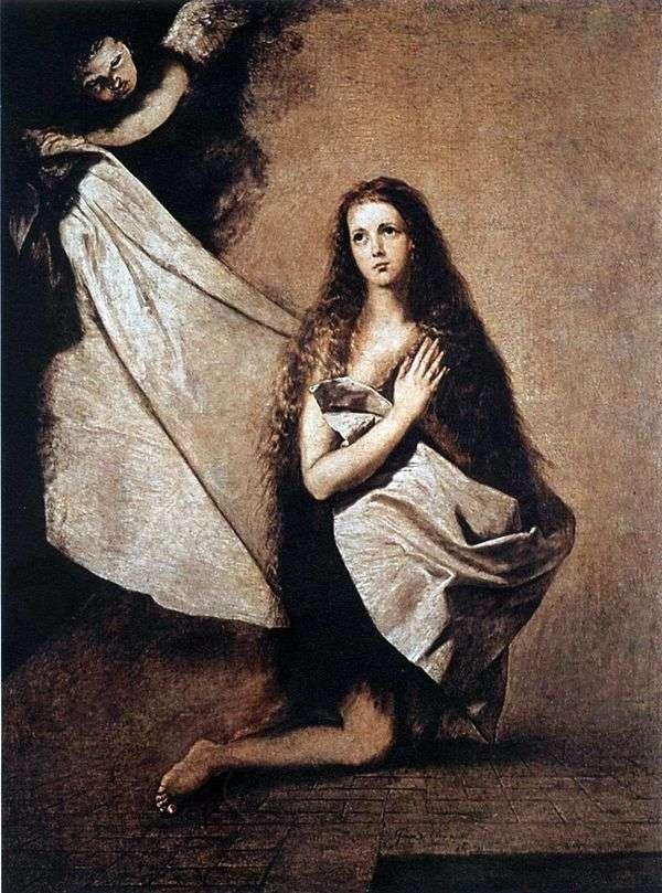 聖イセナとベールで彼女を覆っている天使   Jusepa Ribera