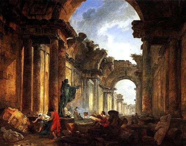 遺跡のグランドギャラリーの想像上の眺め   Hubert Robert