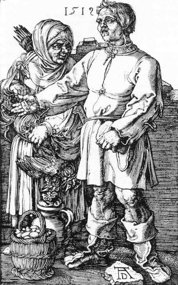 農民と市場の彼の妻   Albrecht Durer