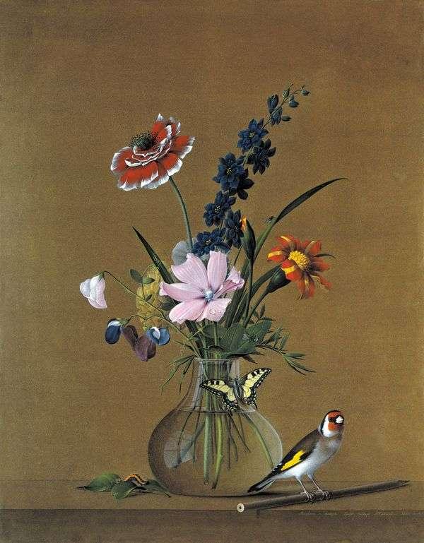花束、蝶と鳥   Fedor Tolstoy