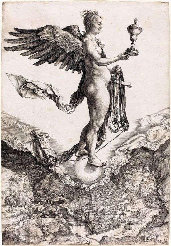 宿敵の宿敵または女神。彫刻   アルブレヒトデューラー