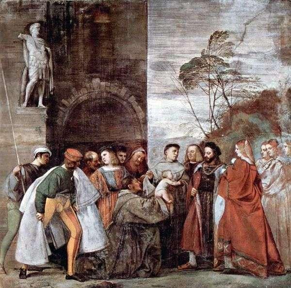 彼女の母親に不倫を訴えている、話している新生児との奇跡   Titian Vecellio