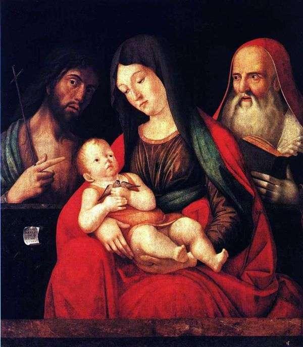 赤ちゃんと一緒のマリア、洗礼者ヨハネと聖ジェローム   Alvise Vivarini