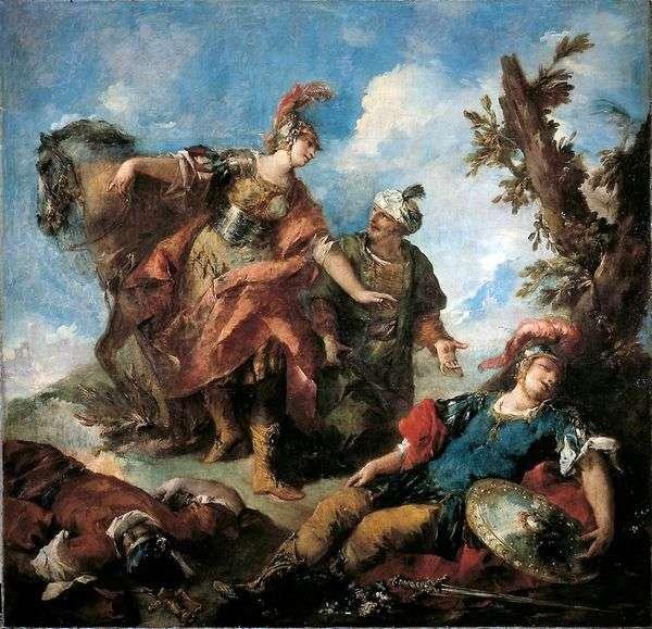 エルミニアとワフリンが負傷した虐待を見つける   Giovanni Antonio Guardi