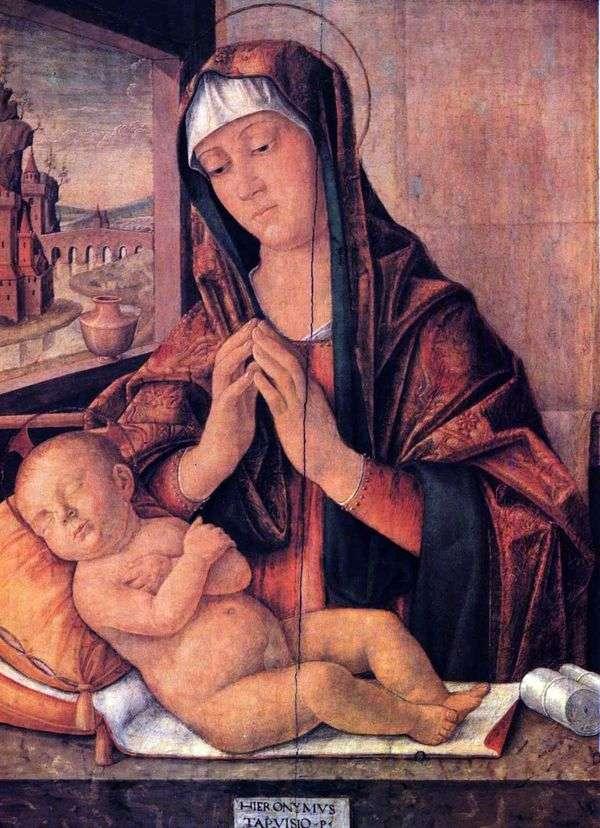 眠っている赤ちゃんと一緒のマリア   Girolamo da Treviso