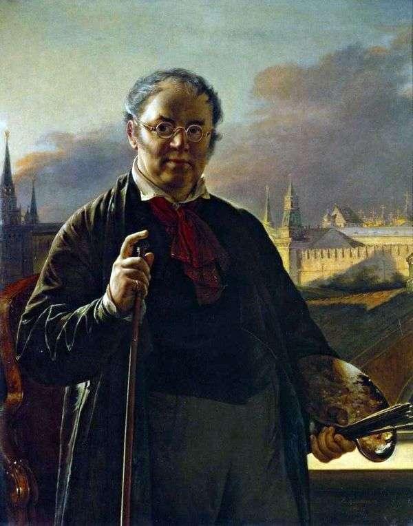 モスクワクレムリン   ヴァシリートロピニンの背景にブラシで自画像