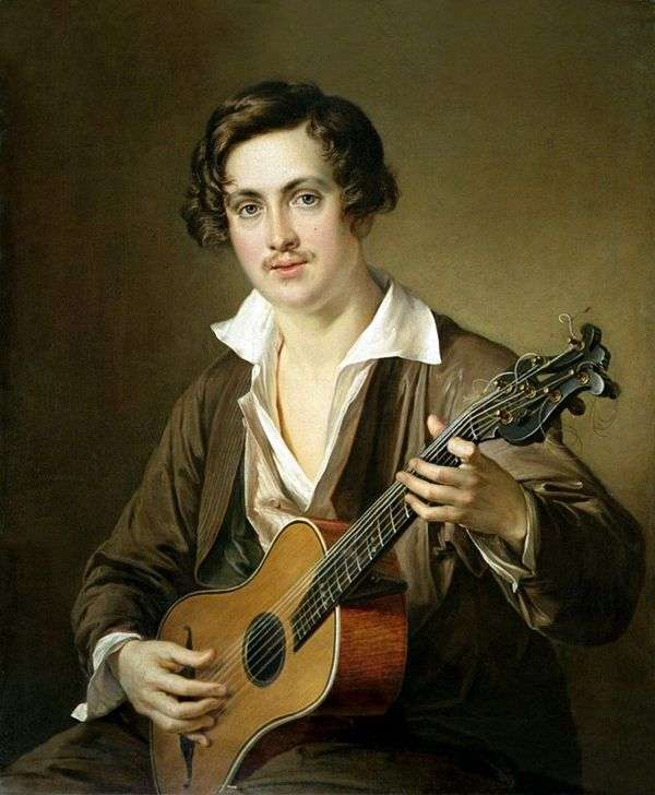ギタリスト(Morkovの肖像)   Vasily Tropinin