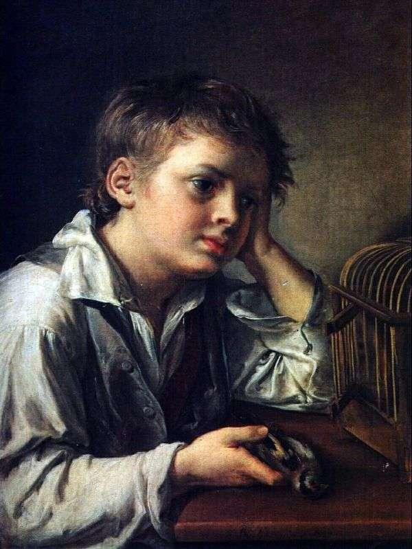 死んだ鳥を切望する少年   Vasily Tropinin