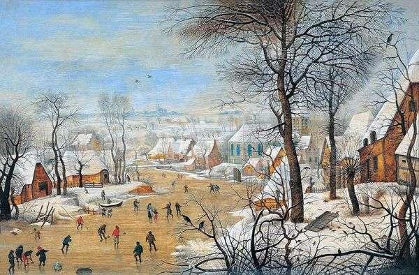 スケーターとバードトラップのある風景   Pieter Bruegel