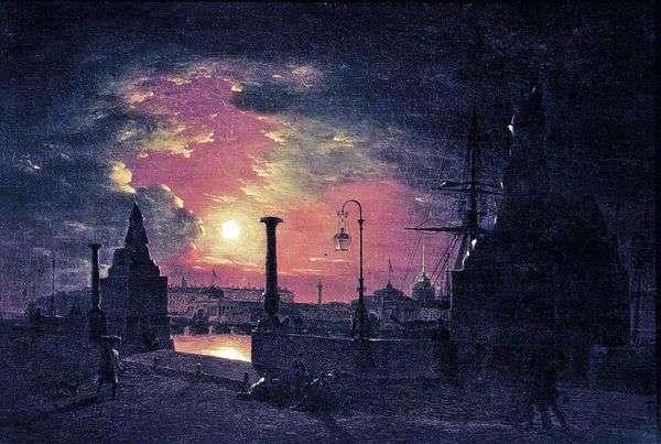 ピーターズバーグの秋の夜。夜にネヴァ川のエジプトのスフィンクスと桟橋   マキシムVorobev