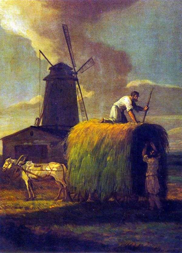 干し草を収穫します。Nikolskoyeの村、A。N. Lvovの地所   マキシムヴォロベフ