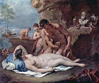 眠っているニンフと2人の風刺   Sebastiano Ricci