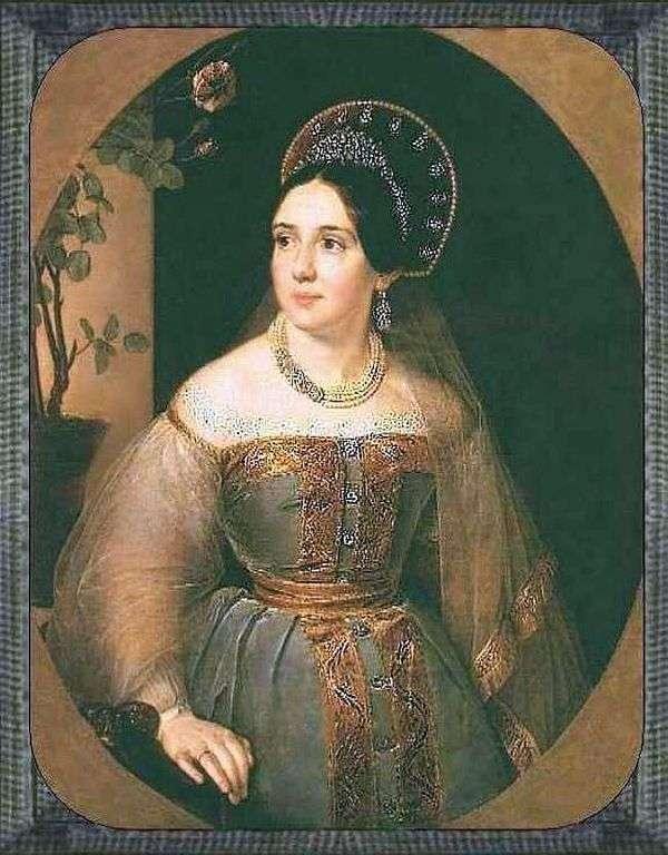 ロシアの衣装   Vasily Tropininの商人EI Karzinkinaの肖像
